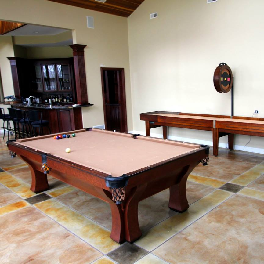 Antique-Brunswick-Arcadia-Poo-Table-With-Handcrafted-McClure-Shuffleboard-Table-Tournament-II