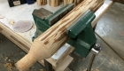 Log style shuffleboard legs