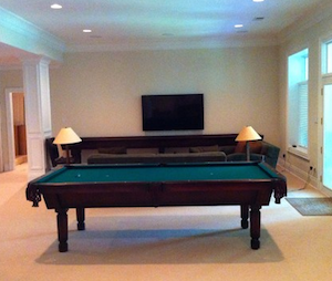 Shuffleboard Table in custom gameroom desgins