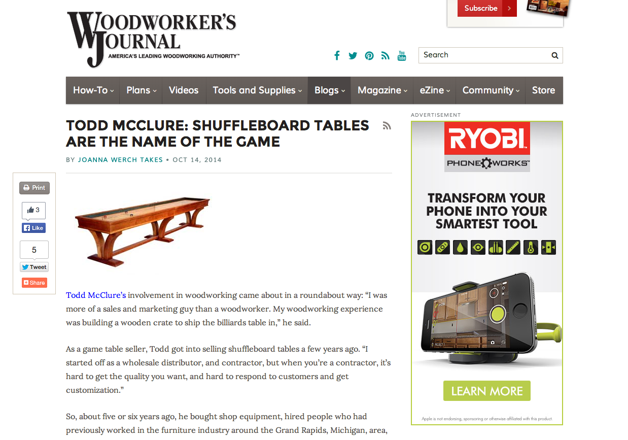 Mcclure Tables Featured In Woodworker S Journalmcclure Tables