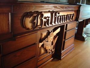 custom baltimore oriole logo shuffleboard table